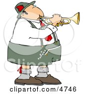 German Trumpet Player Wearing Cotton Lederhosen Clothing