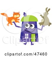 Purple Cartoon House Character With A Rabbit And Cat