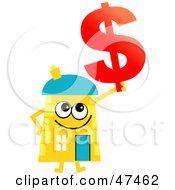 Yellow Cartoon House Character With A Dollar Symbol