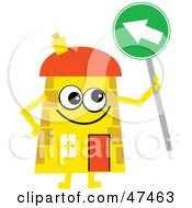 Yellow Cartoon House Character With An Arrow Sign