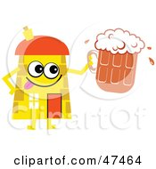 Yellow Cartoon House Character With Beer