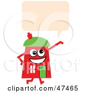 Red Cartoon House Character With A Text Balloon