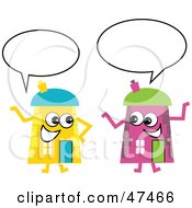 Royalty Free RF Clipart Illustration Of Pink And Yellow Cartoon House Characters Chatting by Prawny