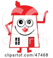 Royalty Free RF Clipart Illustration Of A Patriotic Canadian Flag Cartoon House Character by Prawny
