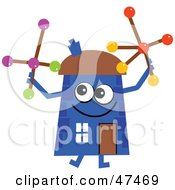 Blue Cartoon House Character Playing With Jacks