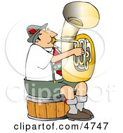 German Tuba Player Practicing By Himself