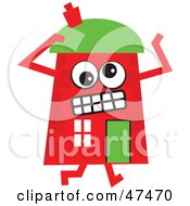 Frustrated Red Cartoon House Character