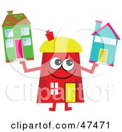 Royalty Free RF Clipart Illustration Of A Red Cartoon House Character Holding Homes by Prawny