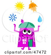 Royalty Free RF Clipart Illustration Of A Purple Cartoon House Character Juggling The Four Seasons by Prawny