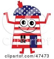 Royalty Free RF Clipart Illustration Of A Patriotic American Flag Cartoon House Character by Prawny