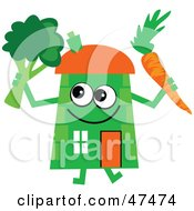 Royalty Free RF Clipart Illustration Of A Green Cartoon House Character With A Carrot And Broccoli by Prawny