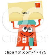 Royalty Free RF Clipart Illustration Of An Orange Cartoon House Character With Email by Prawny
