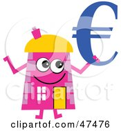 Royalty Free RF Clipart Illustration Of A Pink Cartoon House Character Holding A Blue Euro Symbol by Prawny
