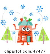 Royalty Free RF Clipart Illustration Of An Orange Cartoon House Character In The Snow by Prawny