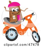 Royalty Free RF Clipart Illustration Of A Brown Cartoon House Character On A Scooter by Prawny