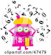Royalty Free RF Clipart Illustration Of A Pink Cartoon House Character Surrounded By Numbers by Prawny