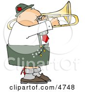 Male German Trombone Player Playing His Brass Instrument By Himself Clipart by djart
