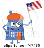 Royalty Free RF Clipart Illustration Of A Blue Cartoon House Character Holding An American Flag by Prawny