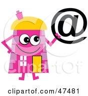 Pink Cartoon House Character Holding An At Symbol