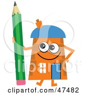 Royalty Free RF Clipart Illustration Of An Orange Cartoon House Character With A Pencil by Prawny