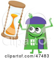 Green Cartoon House Character With An Hourglass