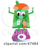Royalty Free RF Clipart Illustration Of A Green Cartoon House Character On A Scale by Prawny