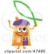 Royalty Free RF Clipart Illustration Of An Orange Cartoon House Character With A Christian Fish