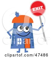 Royalty Free RF Clipart Illustration Of A Blue Cartoon House Character Holding An Exit Sign by Prawny