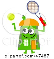 Royalty Free RF Clipart Illustration Of A Green Cartoon House Character Playing Tennis by Prawny