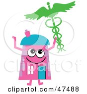 Pink Cartoon House Character Holding A Medical Caduceus