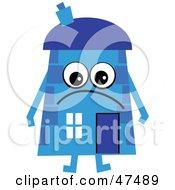 Grumpy Blue Cartoon House Character