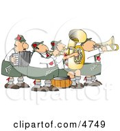 German Band Playing Musical Instruments Together Clipart
