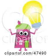 Pink Cartoon House Character Holding A Light Bulb
