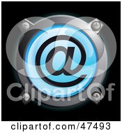 Royalty Free RF Clipart Illustration Of A Glowing Blue At Button by Frog974