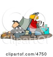 Husband And Wife Camping Together Alone Clipart