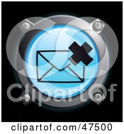 Royalty Free RF Clipart Illustration Of A Glowing Blue X Envelope Button by Frog974