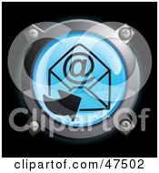 Royalty Free RF Clipart Illustration Of A Glowing Blue Arrow And At Symbol Envelope Button by Frog974