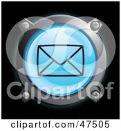 Royalty Free RF Clipart Illustration Of A Glowing Blue Sealed Envelope Button by Frog974