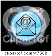 Glowing Blue At Symbol And Envelope Button