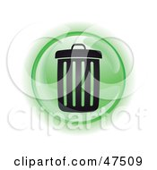 Royalty Free RF Clipart Illustration Of A Green Garbage Can Button