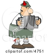 Male German Accordion Player Playing Music By Himself Clipart