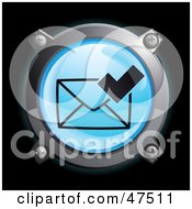 Royalty Free RF Clipart Illustration Of A Glowing Blue Check Envelope Button by Frog974