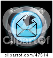 Royalty Free RF Clipart Illustration Of A Glowing Blue Arrow Going In An Envelope Button by Frog974