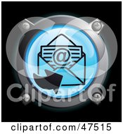 Royalty Free RF Clipart Illustration Of A Glowing Blue Sending Email Button by Frog974