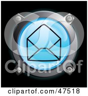 Royalty Free RF Clipart Illustration Of A Glowing Blue Open Envelope Button by Frog974