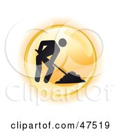 Royalty Free RF Clipart Illustration Of A Yellow Digging Button by Frog974