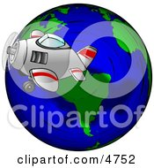 Traveling Concept Of A Plane Flying Around The Globe Clipart
