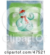 Royalty Free RF Clipart Illustration Of A Textured Background Of Frosty The Snowman by Prawny