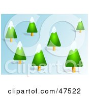 Royalty Free RF Clipart Illustration Of Snow Flocked Evergreen Trees On A Hillside
