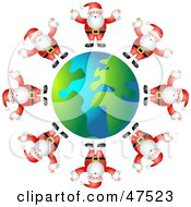 Globe Surrounded By Santas In Suits